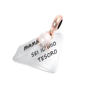 CHARM DONNA ARGENTO DIAMANTE PERLA MAMMA