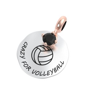 CHARM DONNA ARGENTO PIASTRA VOLLEY ONICE