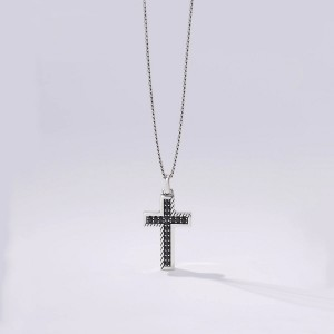 Collana Uomo Argento Croce Pavè Zirconi Neri